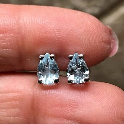 Natural 1.25ct Aquamarine 925 Solid Sterling Silver Pear Cut Earrings 7mm Long