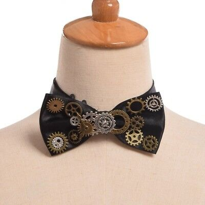 Women Steampunk Gear Pattern Necktie Gothic Punk Bow Tie Mens Cosplay Neckwea