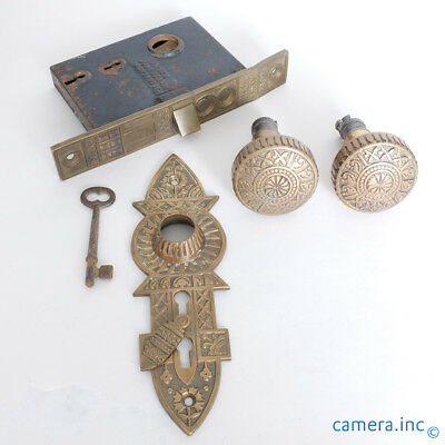 Antique Cast Bronze Niles Chicago Door Knob Set w/ Escutcheon Plate & Mortise