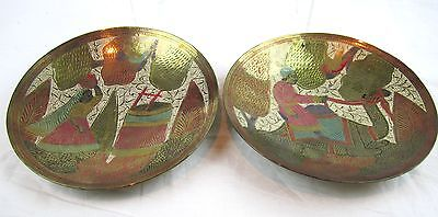 2 BRASS Inlay Etched Decorative Plates Bowls Camel Middle Eastern Wall hanging 8