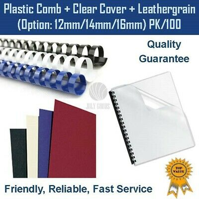 100 sets of A4 clear cover + A4 black leathergrain cover + binding comb (medium)