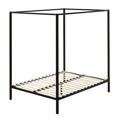 Metal Bed Base Canopy  FourPoster Bed Single Double Queen King Frame Wood slate