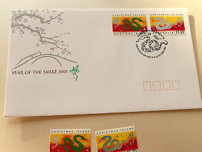 2001 Christmas Island - Year of The Snake 45c, $1.35  MNH + FDC