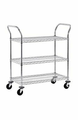 Chrome Wire Shelving Utility Cart 36 X 18