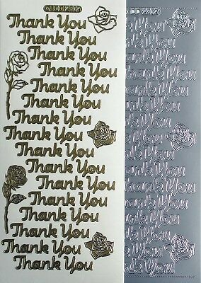 Thank You PEEL OFF STICKERS Flowers Roses Cardmaking