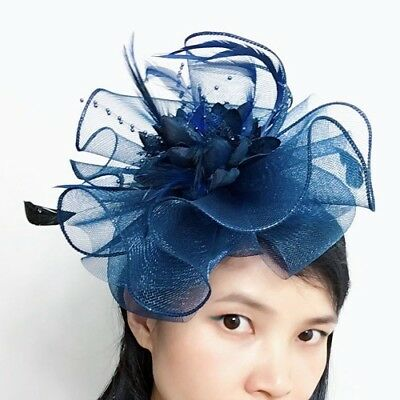 Women Feather Tulle Net Fascinators Headband Headpiece Wedding Bridal Race Derby