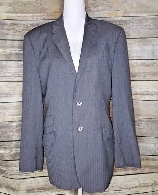 Paul Smith London The Byard Men's Grey And Blue Pin Stripe Suit Jacket Size R40