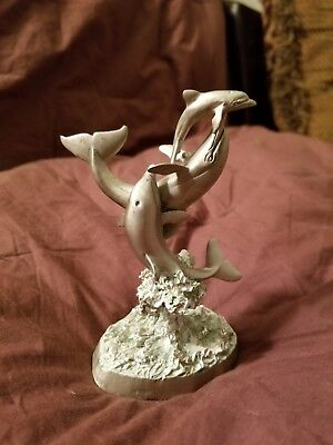 1993 sedlow Masterworks fine pewter three Dolphins jumping out of water