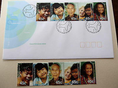 Christmas Is - 2000 - Face of Christmas Is - 5 joined 45c stamps + FDC