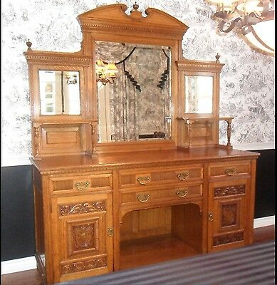 Antique English Sideboard With Mirrored Hutch Edwardian Large Excellent Cond.