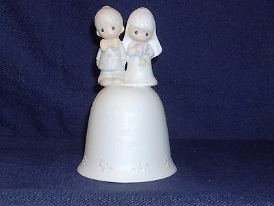 1981 PRECIOUS MOMENTS Lord Bless You & Keep You  E-7179 Wedding Bell Bride Groom