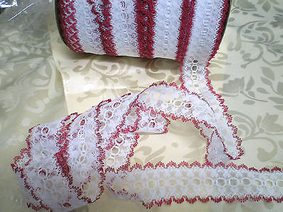 Eyelet lace 10 m x 4cm wide white with burgundy edging featuring  heart design