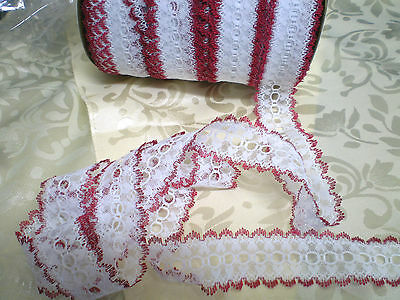 Eyelet lace 8 mtrs x 4cm wide white with burgundy edging featuring  heart design