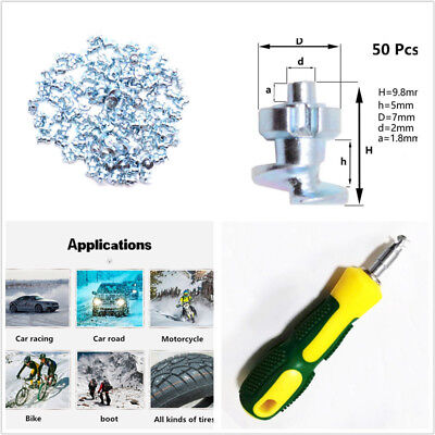 50X 9mm Screw Stud Car Wheel Tyre Snow Tire Spikes Trim With Install Sleeve Tool