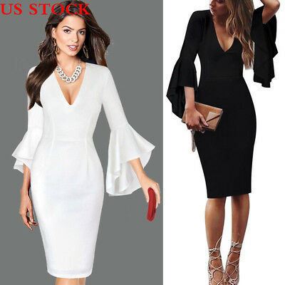 Women Sexy Deep V-neck Flare Bell Sleeves Work Office Party Bodycon Sheath Dress
