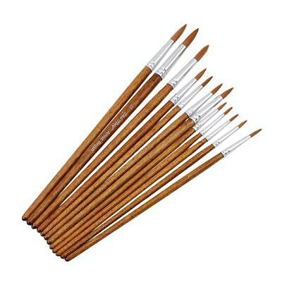 Set of 12 Tip Painting Brushes Artist Wooden Acrylic Oil Paint Drawing Art LH