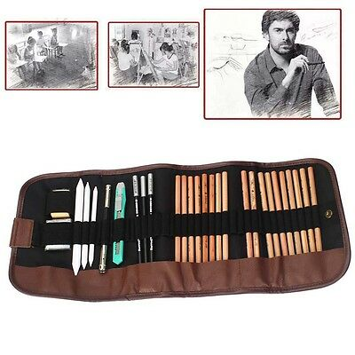 18 x Sketch Pencils + Charcoal Pencil Eraser Set Art Craft for Drawing Sketch DB