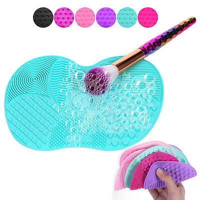 Silicone Makeup Brush Cleaner Pad Wash Scrubber Board Cleaning Mat Hand Tool  DW