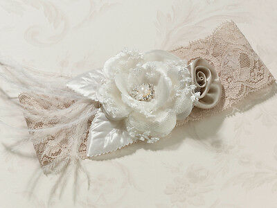 Beautiful Vintage Wedding Wide Bride's Garter Taupe with White Lace & Feathers