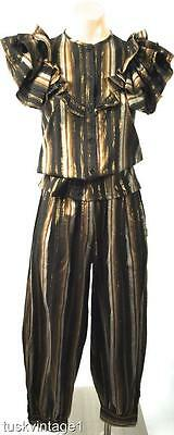 VINTAGE 2pc Indian cotton GOLD METALLIC thread RUFFLE top harem pants set 6 8