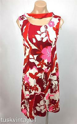 VINTAGE 60s HAWAIIAN white RED pink BOLD floral COTTON mini DRESS 6 8