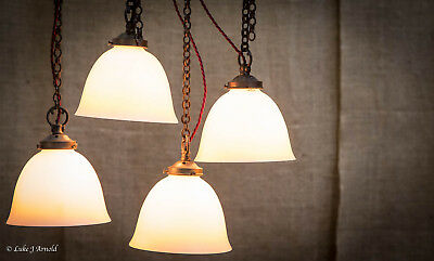 Edwardian Open Frosted Pendant Ceiling Light Lamp - Original Chain & Gallery