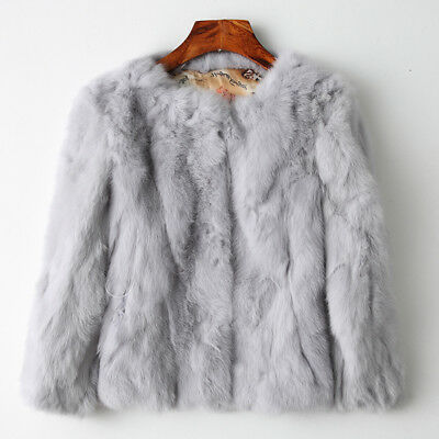 100% Farm Real Rabbit Fur knitted Women's Clothing short Coat Jackets Furry New