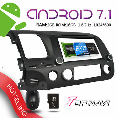 8inch Android 7.1 Car DVD GPS Player For Honda Civic LHD 2006-2011 Radio Stereo