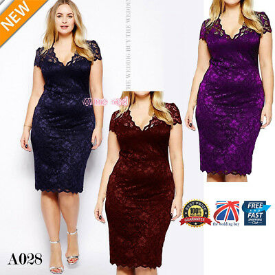 Womens Ladies Bodycon Midi Lace Pencil Cocktail Party Evening Dress 16-22 A028