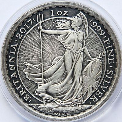 BRITANNIA 2017 2 POUNDS 1 Oz SILVER ANTIQUE FINISH ONLY FEW AVAILABLE