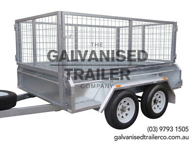 8x5 Tandem Trailer Galvanised Heavy Duty With 410mm Sides & 800mm Mesh Cage