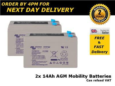 2x 12 VOLT 14AH (as 12Ah & 15AH) AGM BATTERY MOBILITY SCOOTER, ELECTRIC TOY CAR