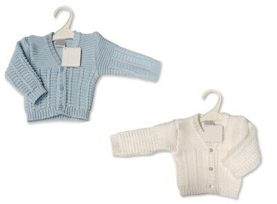 Baby Babies Boys Girls Button Up Cardigan White Blue Knitted V Neck 6 24 M 106