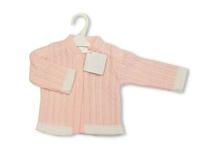Baby Babies Boys Girls Button Up Cardigan Pink Blue Knitted V Neck 6 24 M 109