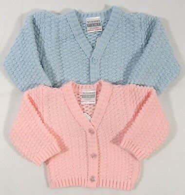 Baby Babies Boys Girls Button Up Cardigan Pink Blue Knitted V Neck NB 3 6 M 509