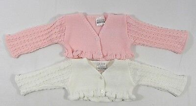 Baby Babies Girls Button Up Cardigan Frilly Knitted Bolero Wrap NB 3 6 M 204