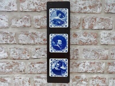 3 Dutch Vintage small blue and white tiles in wooden frame