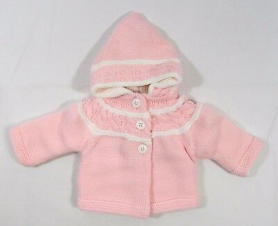Baby Babies Girls Button Up Hoodie Cardigan Double Knitted Jacket NB 3 6 M 620