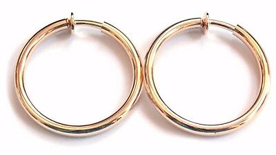 Clip On Earrings 1 Inch Hoop Gold Or Silver Plated Simple Thin Hoops