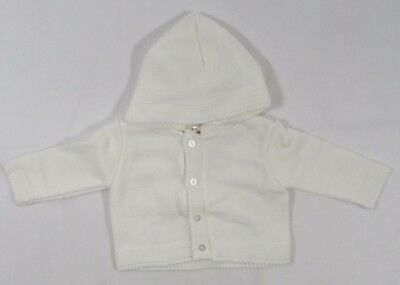 Baby Babies Girls Boys Button Up Hoodie Cardigan Knitted Cream NB 3 6 9 24 M 512