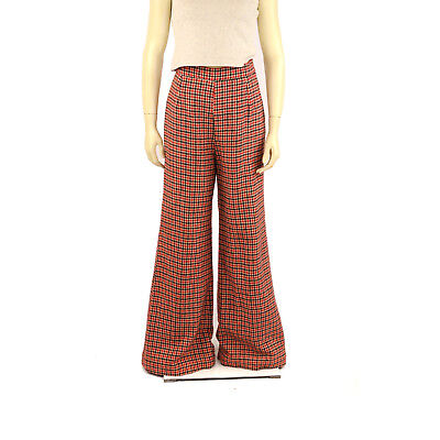 Vintage 70s Red + Black All Wool Knit Houndstooth High Waist Bell Bottom Pants