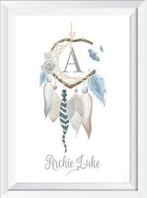 Personalised dreamcatcher baby child name print picture nursery gift christening