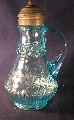 Wildflower pattern syrup pitcher molasses can Adams light blue pewter lid A2