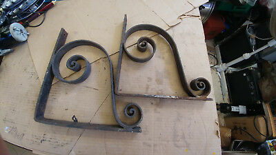 Pair (2) Vintage Wall Mount Brackets Cast Iron
