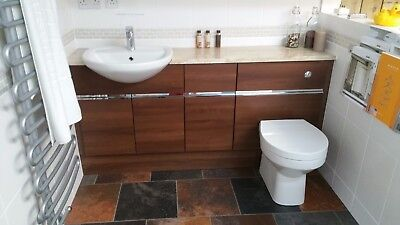 Ex Display Utopia Bathroom Fitted Furniture In Walnut 1740mm Does