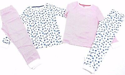 Ex F & F Girls Heart Stripe 2 Pack Snuggle Pyjamas 2 3 4 5 6 7 8 9 10 11 12 13