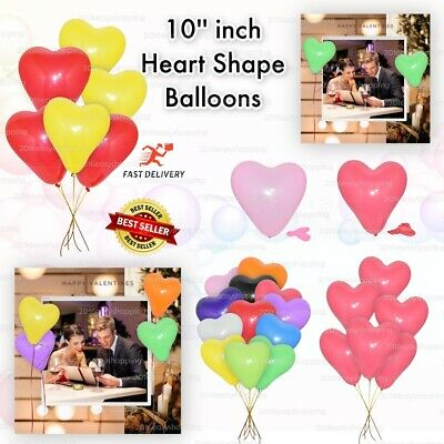 """Mix 10"""" Heart Shaped Balloons wedding Valentines Love Party baloons helium/air"""