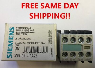Siemens 3RH1911-1FA22 Auxiliary Contact Block 10A 240V, NEW! Item: 741531