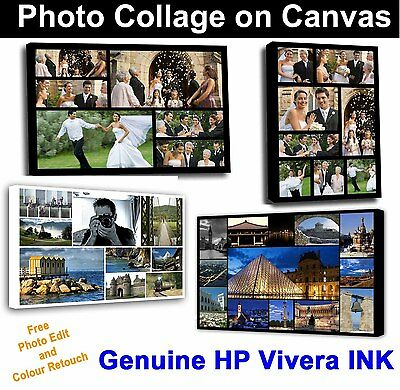 Your Photo Large Collage Canvas Print - Personalised on Box/Wrapped 32 x 20 inch