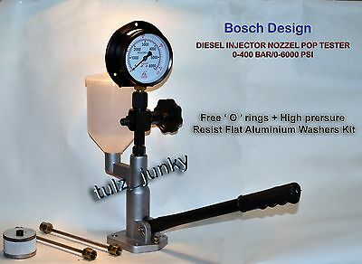 Diesel Injector Nozzle Pop Pressure Tester 0 - 400 Bar Pr. Gauge with Extra Fitr